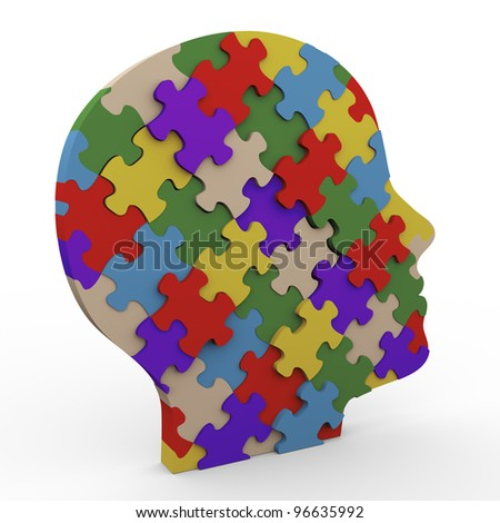 3d render of human head made up of puzzle pieces - stock photo