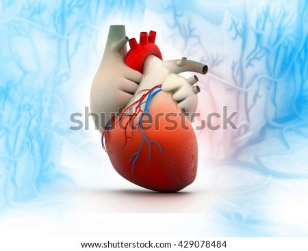 3d render of Human heart on abstract dark background - stock photo