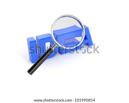 3d render of idea word with magnifying glass - stock photo