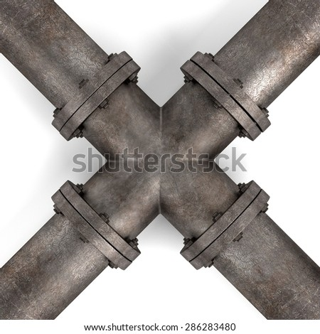 3d render of industrial pipes - stock photo