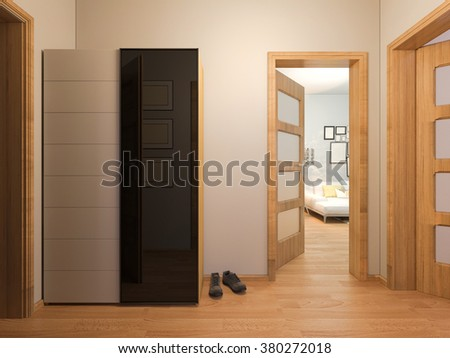 3D render of interior design entrance hall in a studio apartment in a modern minimalist style. The illustration depicts an open door into the room, entrance hall with wardrobe - stock photo