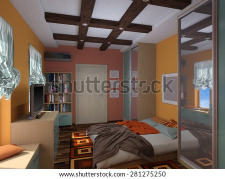 3D render of interior design of a bedroom in the Mexican style