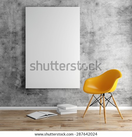 3d render of interior  with a blank frame and wooden floor - stock photo