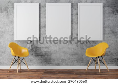 3d render of interior  with a blank frames and wooden floor - stock photo