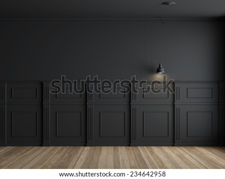 3d render of interior with panels on wall - stock photo