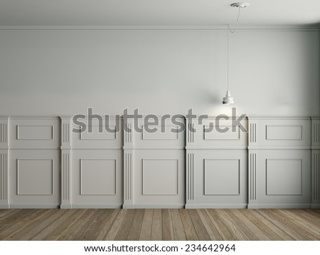 3d render of interior with panels on wall