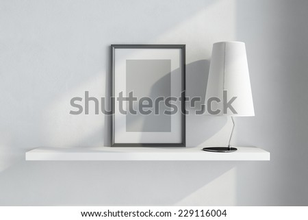 3d render of interior with shelf on white wall - stock photo