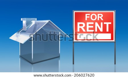 3d render of investment blue glass house for rent - stock photo