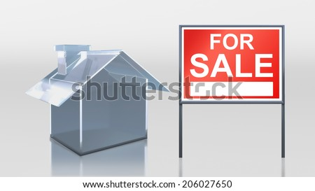 3d render of investment glass house for sale - stock photo