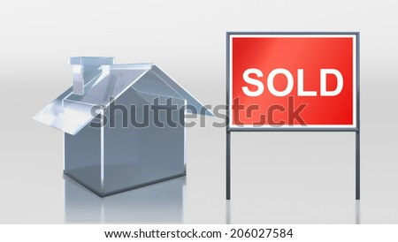 3d render of investment glass house sold - stock photo