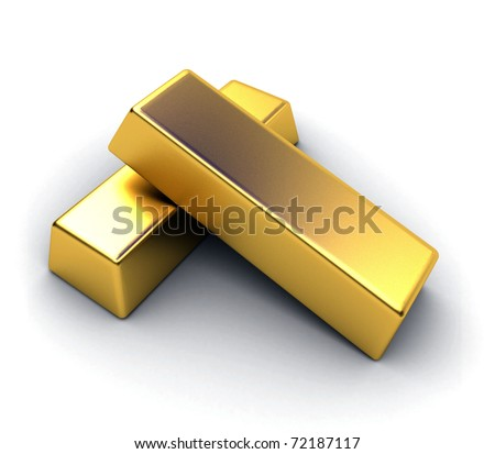 3d render of isolated gold bar