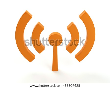 3d render of isolated wireless icon. In orange color!
