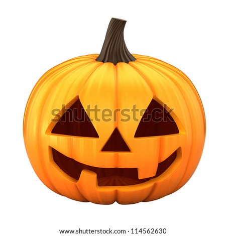 3d render of Jack 0 Lantern isolated in white background - stock photo