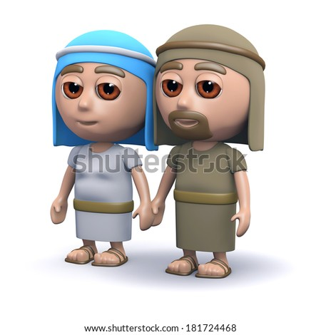 3d render of Jesus parents - stock photo