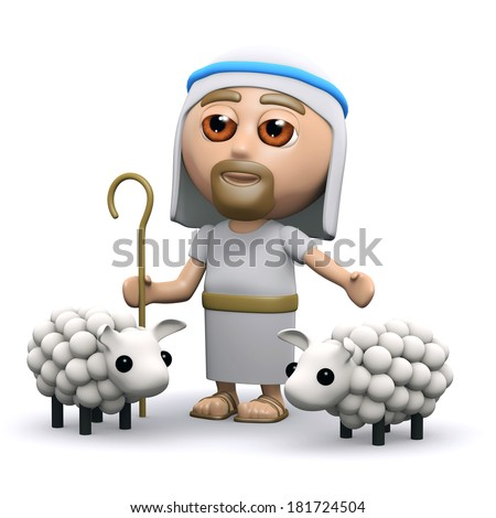 3d render of Jesus with his flock of sheep - stock photo