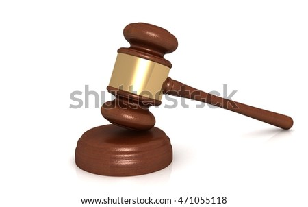 3D render of judge gavel isolated on white background