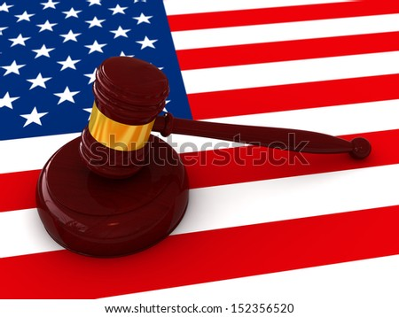 3d render of judge hammer on American flag background - stock photo