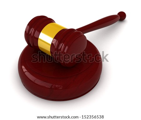 3d render of judge hammer over white background - stock photo