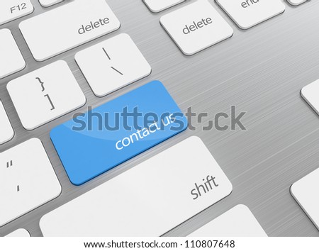 3D render of keyboard with contact us button isolated on white background - stock photo