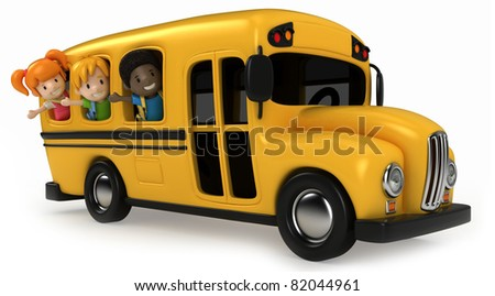3D Render of Kids Riding School Bus