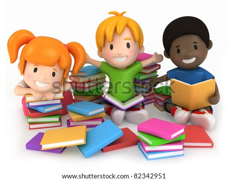 3D Render of Kids Surrounded by Books - stock photo