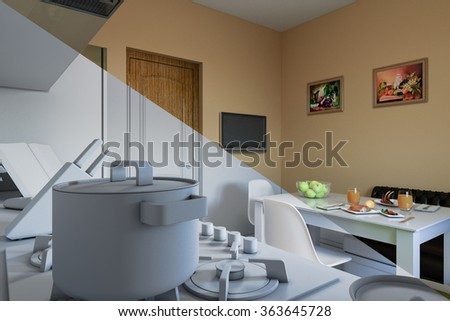 3d render of kitchen design in a modern style, a mix of pictures without textures and materials and shaders