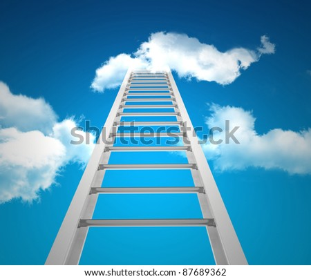 3d render of ladder in the sky - stock photo