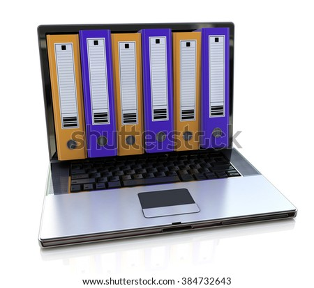 3d render of laptop with colored folders inside screen. Storage concept
