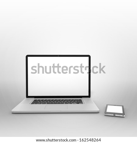 3d render of laptop with smartphone - stock photo