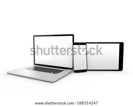 3d render of laptop with tablet and smartphone