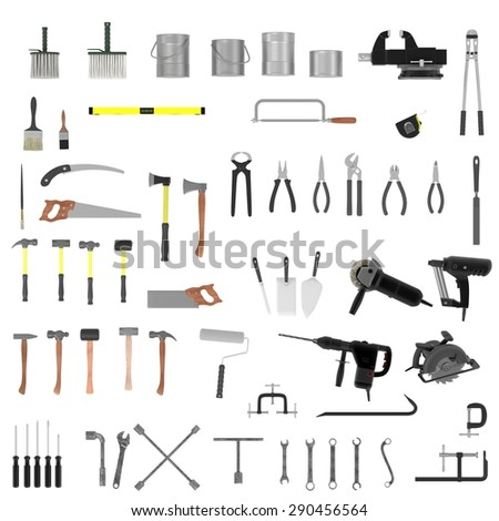 3d render of large colection of tools