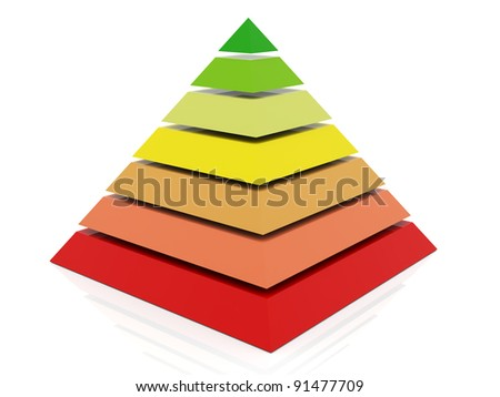 3d render of layered abstract colorful pyramid - stock photo