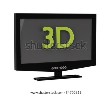 3D render of  LCD monitor  isolated on white background