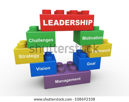 3d render of leadership concept presented with child toys blocks - stock photo
