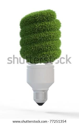 3d render of light bulb covered grass - stock photo