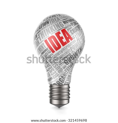 3d render of light bulb with word cloud - idea concept - stock photo