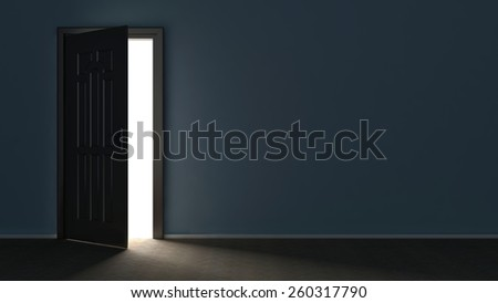 3d render of light in empty room through the opened door - stock photo