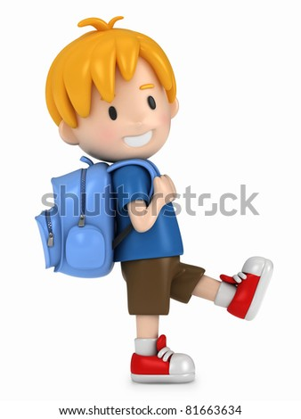 3D Render of Little Boy Walking - stock photo