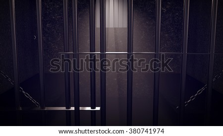 3D Render of locked prison cell for two persons. Dark atmosphere. - stock photo