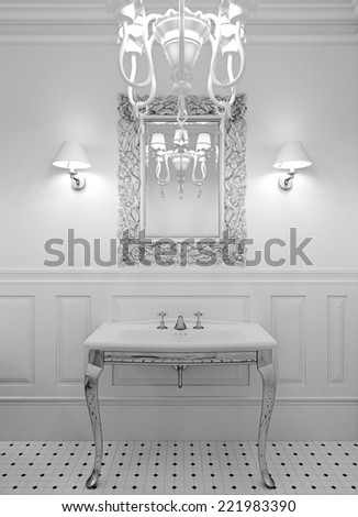 3d render of luxury bathroom in white color - stock photo
