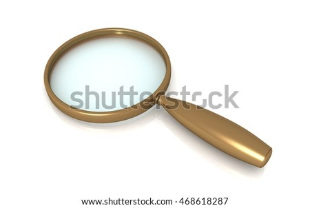 3d render of magnifier glass isolated on white