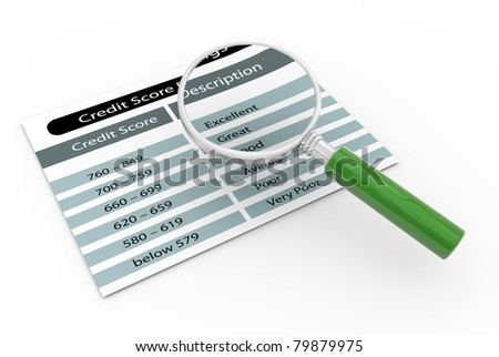 3d render of magnifying glass zooming credit score rating - stock photo