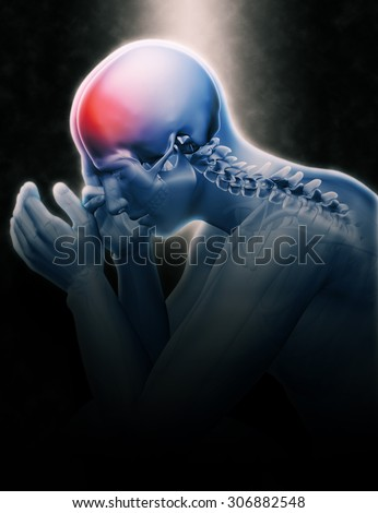 3D render of male figure holding head in pain - stock photo