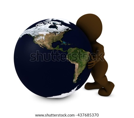 3D Render of Man embracing the world