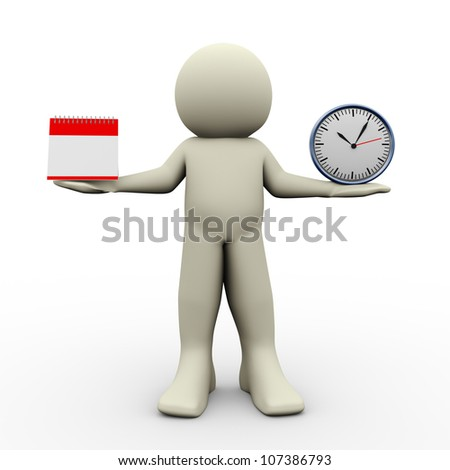 3d render of man holding calender and clock in his hand. 3d illustration of human character