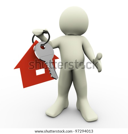 3d render of man holding house keychain in his hand - stock photo
