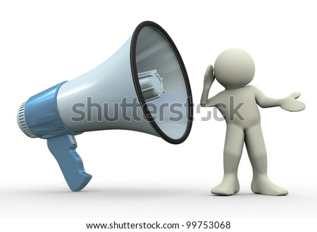 3d render of man listening to megaphone - stock photo