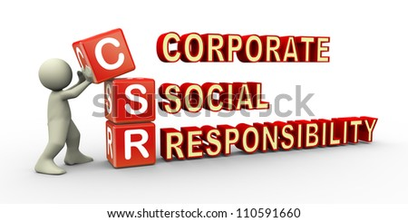 3d render of man placing csr (corporate social responsibility) cubes. 3d illustration of human character.