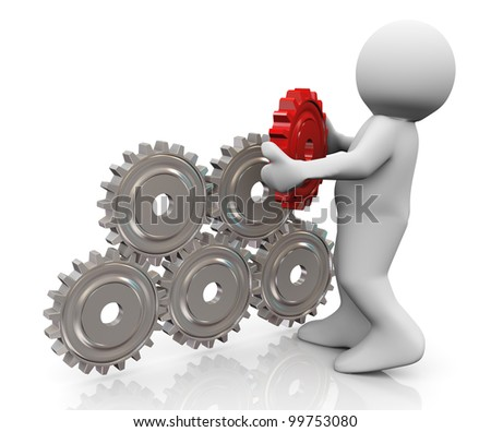 3d render of man placing final red gear to complete gear pyramid. 3d illustration of human character - stock photo