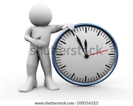 3d render of man standing with clock. 3d illustraton of human character